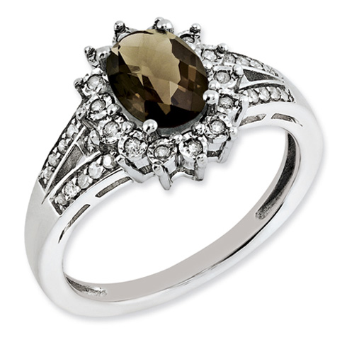 1.1 ct Sterling Silver Diamond and Smokey Quartz Ring