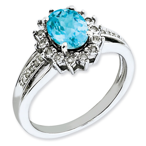 Sterling Silver Diamond and 1.35 ct Light Swiss Blue Topaz Ring