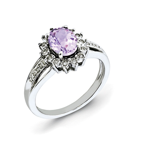 1.1 ct Sterling Silver Diamond and Pink Quartz Ring