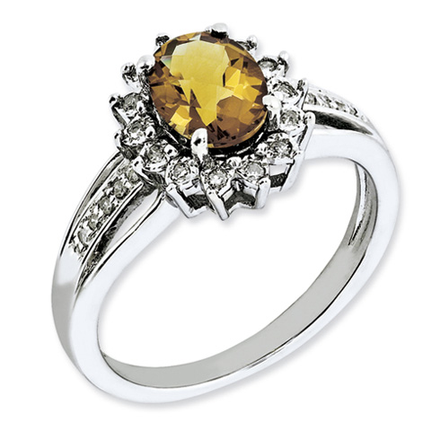1.1 ct Sterling Silver Diamond and Whiskey Quartz Ring