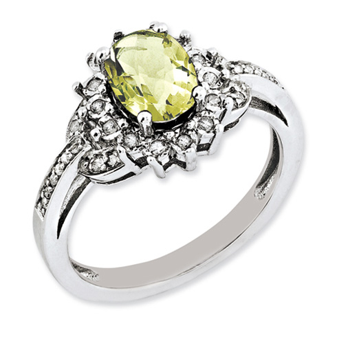 1.1 ct Sterling Silver Diamond and Lemon Quartz Ring