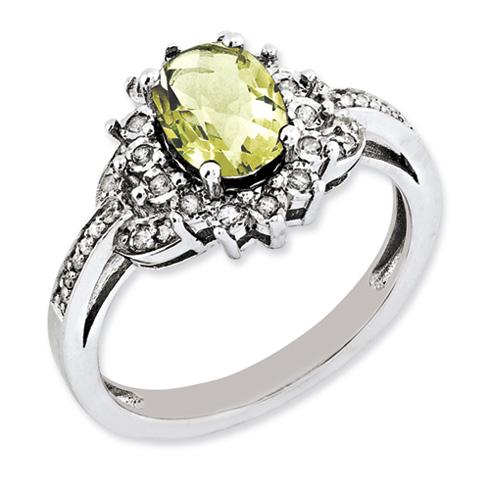 1.1 ct Sterling Silver Diamond and Lemon Quartz Ring