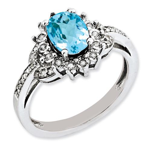Sterling Silver 1.35 ct Light Swiss Blue Topaz Fancy Diamond Ring