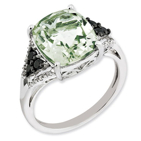 5.4 ct Sterling Silver Diamond and Green Quartz Ring