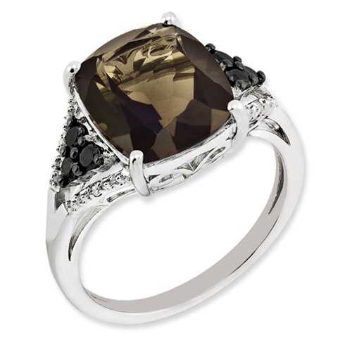 5.4 ct Sterling Silver Diamond and Smokey Quartz Ring