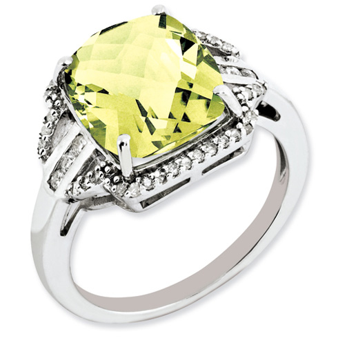 5.45 ct Sterling Silver Diamond and Lemon Quartz Ring