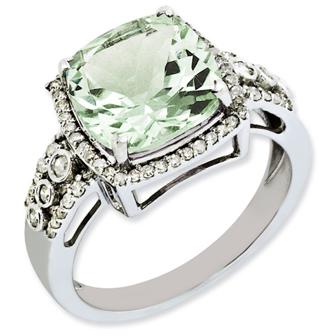 4.25 ct Sterling Silver Diamond and Green Quartz Ring