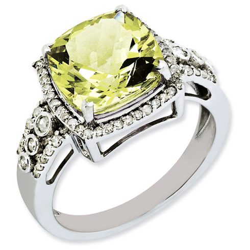 4.25 ct Sterling Silver Diamond and Lemon Quartz Ring