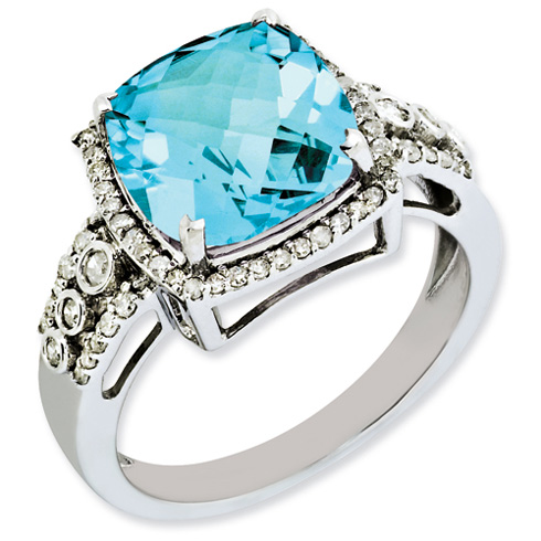 5.5 ct Sterling Silver Diamond and Light Swiss Blue Topaz Ring
