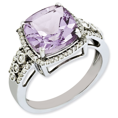 Sterling Silver 4.25 ct Checkerboard Pink Quartz Ring with Diamonds
