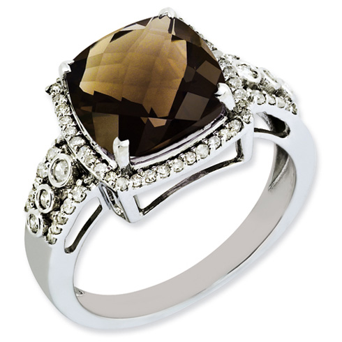 4.25 ct Sterling Silver Diamond and Smokey Quartz Ring