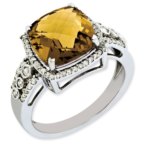 4.25 ct Sterling Silver Diamond and Whiskey Quartz Ring