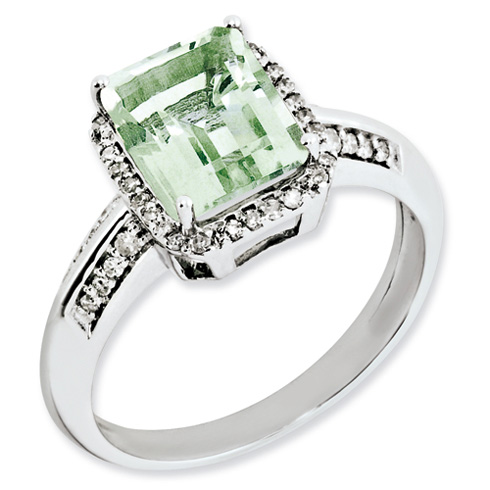 2 ct Sterling Silver Diamond and Green Quartz Ring