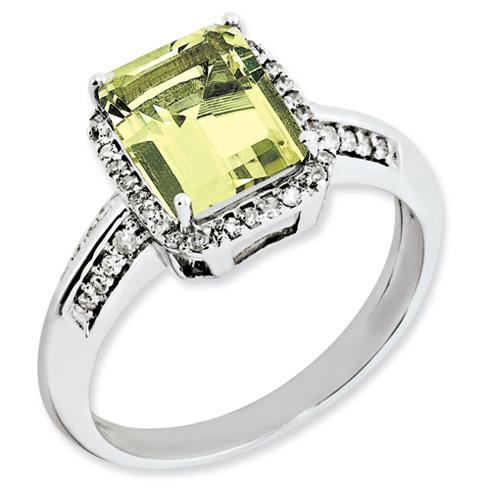 Sterling Silver 2 ct Emerald-cut Lemon Quartz Ring with Diamonds