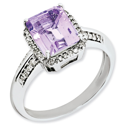 Sterling Silver 2 ct Emerald-cut Pink Quartz Ring with Diamonds