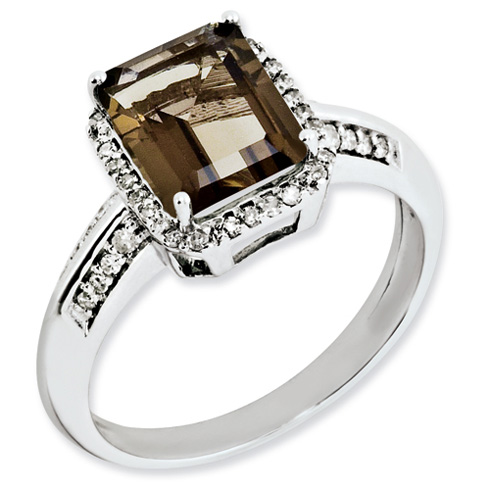 Sterling Silver 2 ct Emerald-cut Smoky Quartz Ring with Diamonds