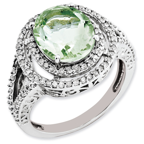 3.35 ct Sterling Silver Diamond and Green Quartz Ring