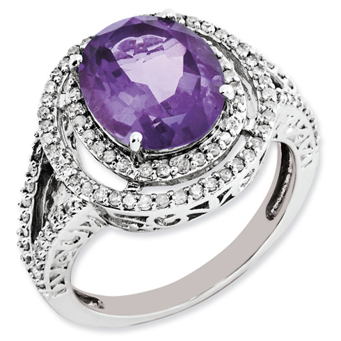 3.2 ct Sterling Silver Amethyst and Diamond Ring
