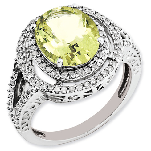 3.35 ct Sterling Silver Diamond and Lemon Quartz Ring