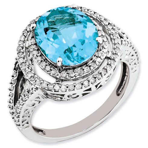 4.4 ct Sterling Silver Diamond and Light Swiss Blue Topaz Ring