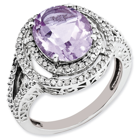3.35 ct Sterling Silver Diamond and Pink Quartz Ring