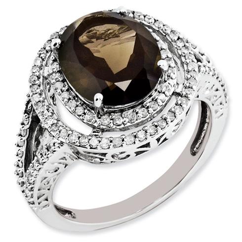 3.35 ct Sterling Silver Diamond and Smokey Quartz Ring