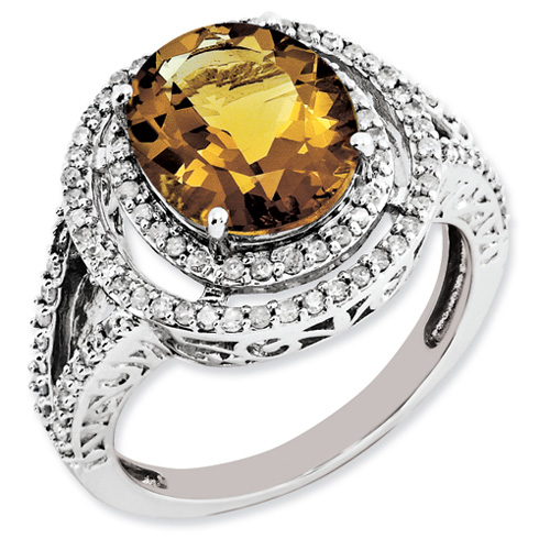 3.35 ct Sterling Silver Diamond and Whiskey Quartz Ring
