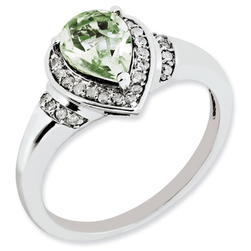 1 ct Sterling Silver Diamond and Green Quartz Ring