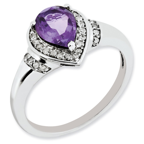 1 ct Sterling Silver Amethyst and Diamond Ring