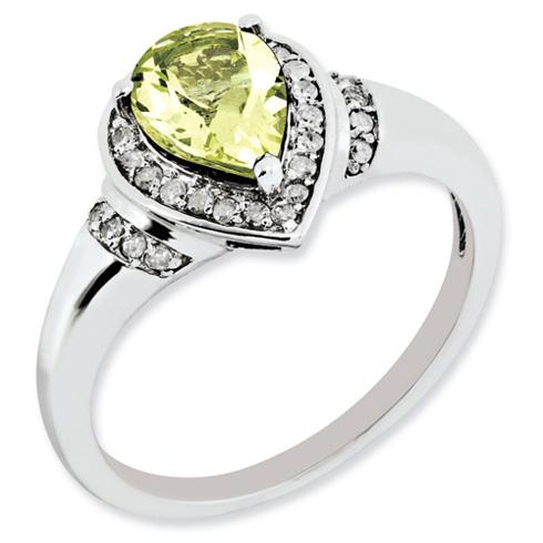 1 ct Sterling Silver Diamond and Lemon Quartz Ring