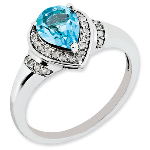 1.45 ct Sterling Silver Diamond and Light Swiss Blue Topaz Ring
