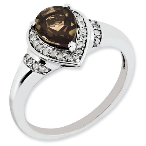 1 ct Sterling Silver Diamond and Smokey Quartz Ring