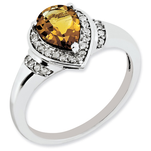 1 ct Sterling Silver Diamond and Whiskey Quartz Ring
