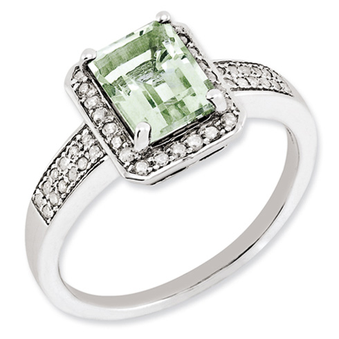1.45 ct Sterling Silver Diamond and Green Quartz Ring