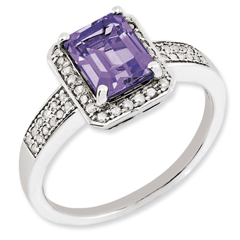 1.45 ct Sterling Silver Amethyst and Diamond Ring