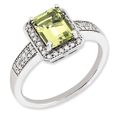 1.45 ct Sterling Silver Diamond and Lemon Quartz Ring