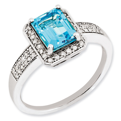 1.95 ct Sterling Silver Diamond and Light Swiss Blue Topaz Ring