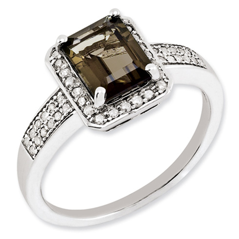1.45 ct Sterling Silver Diamond and Smokey Quartz Ring
