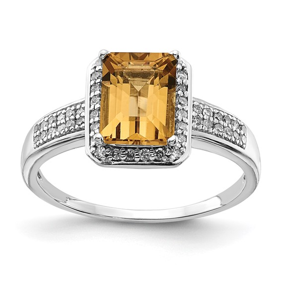 Sterling Silver 1.45 ct Octagonal Whiskey Quartz Ring with Diamonds