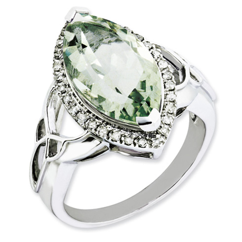 5.56 ct Sterling Silver Diamond and Green Quartz Ring