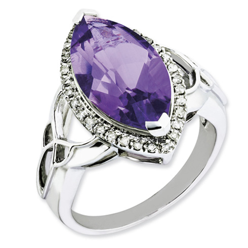 5.56 ct Sterling Silver Amethyst and Diamond Ring