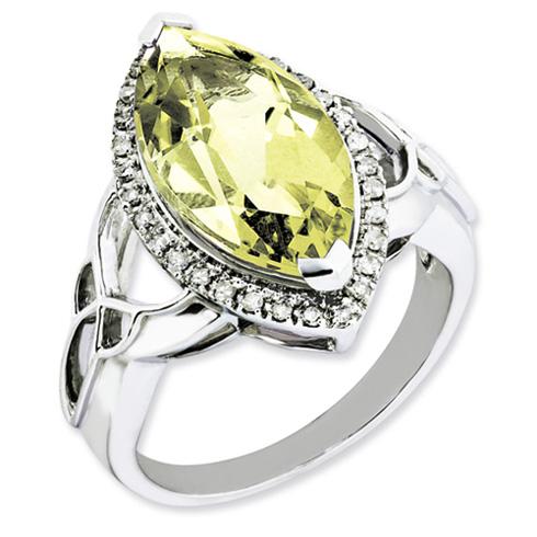 5.56 ct Sterling Silver Lemon Quartz and Diamond Ring
