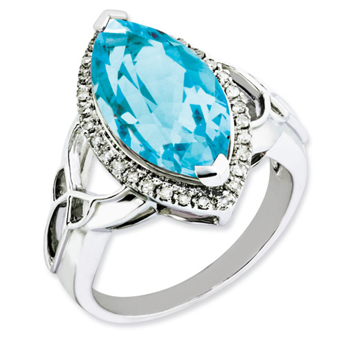 Sterling Silver 4.55 ct Diamond and Light Swiss Blue Topaz Ring