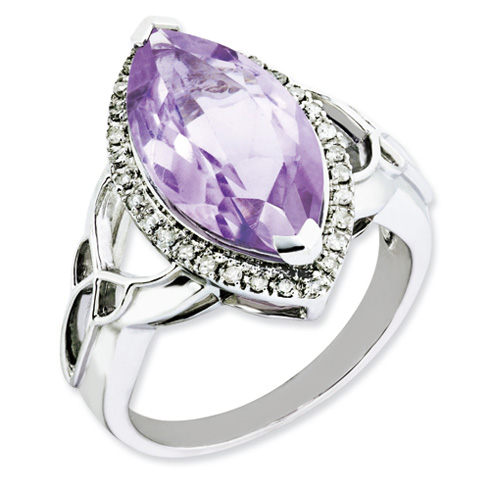 5.56 ct Sterling Silver Diamond and Pink Quartz Ring