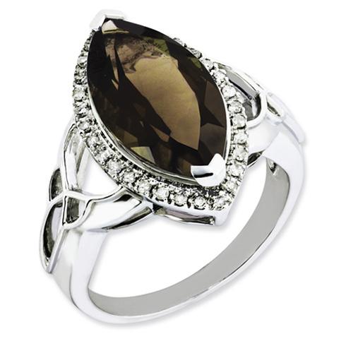 5.56 ct Sterling Silver Diamond and Smokey Quartz Ring