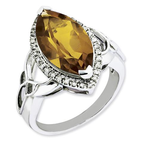 5.56 ct Sterling Silver Whiskey Quartz and Diamond Ring