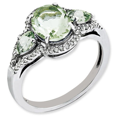 2.22 ct Sterling Silver Green Quartz and Diamond Ring