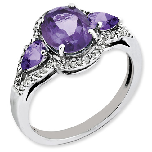 2.04 ct Sterling Silver Amethyst and Diamond Ring