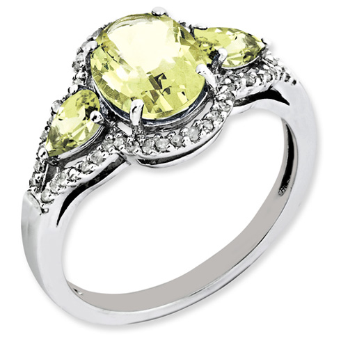Sterling Silver 1.72 ct Lemon Quartz Ring with Diamonds