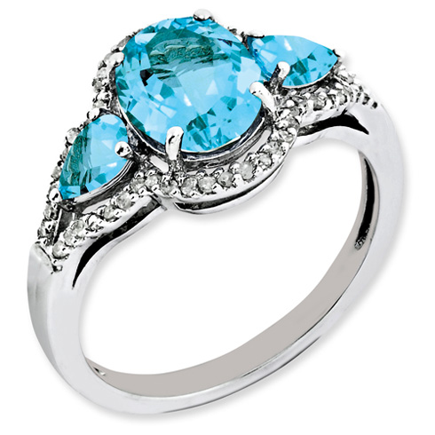 2.8 ct Sterling Silver Diamond and Light Swiss Blue Topaz Ring